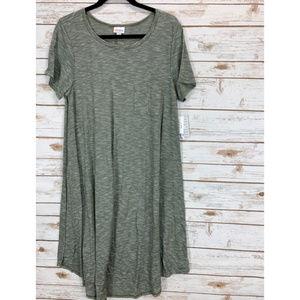 LuLaRoe Carly Dress Large Dark Green NWT
